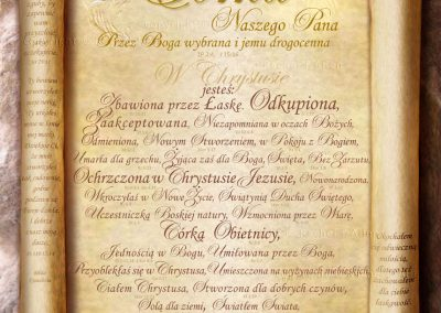Treasured Daughter of the King Scroll – Polish